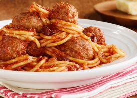 Puttanesca Spaghetti with Meatballs