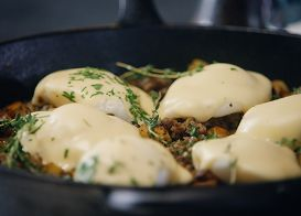 Maple Syrup Sausage and Sweet Potato Hash with Poached Eggs & Hollandaise