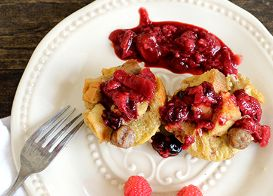 Maple Sausage French Toast Baguette Cups with Three-Berry Compote