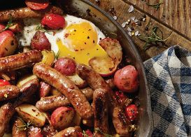 Roasted Potato, Egg, Tomato & Sausage Breakfast Skillet