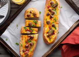 Breakfast Sausage Egg Boats