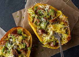 Sausage and Pesto Spaghetti Squash