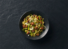 Zucchini Linguine with Creamy Pesto Sauce