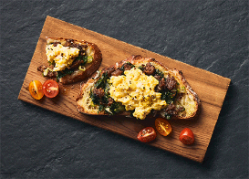 Egg and Sausage Open-Faced Sandwich