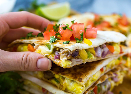 Tex Mex Breakfast Quesadillas with Sausage
