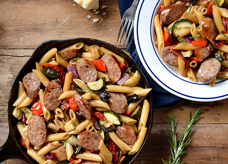 Grilled Vegetable & Sausage Pasta