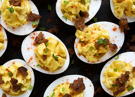 Deviled Eggs with Italian Sausage
