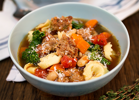 Italian Sausage Soup with Tortellini & Kale