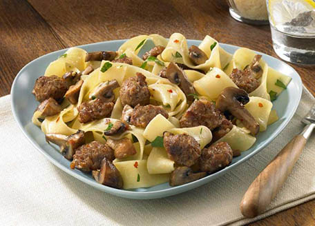 Pappardelle with Sizzled Italian Sausage and Mushrooms