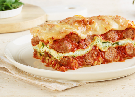 Sausage Meatball Lasagna with Ricotta & Spinach